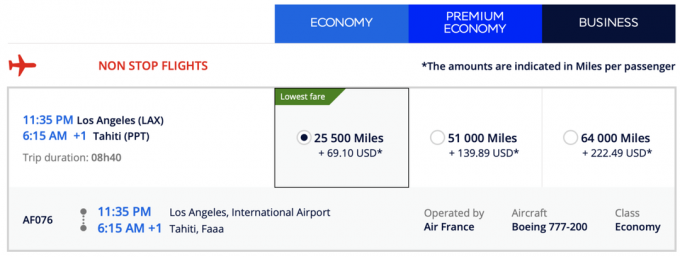 LAX zu PPT Flying Blue Pricing