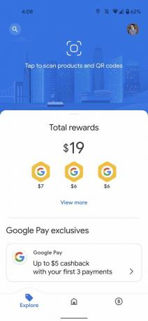 Google Pay Explore képernyő